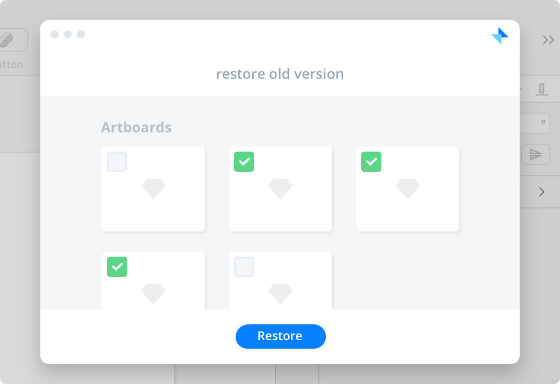 Send new version only on selected artboards